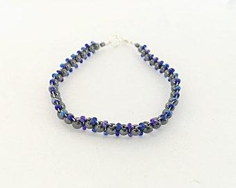 Hematite and Blue Seed Bead Bracelet