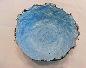 Light blue and black papier-mâché bowl