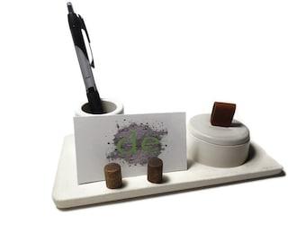 Cement Desk Tray, Concrete Desk Tray, concrete Business card holder, concrete pen holder, desk organizer, desk set, cement tray, 3 piece