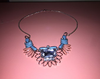 Glass Bead Chained Necklace