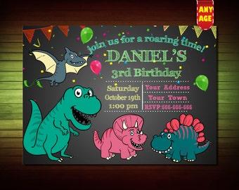 Dinosaur Birthday Invitation,Dinosaur Invitation, Dinosaur Party,1st,2nd,3rd,4th Birthday Invitation