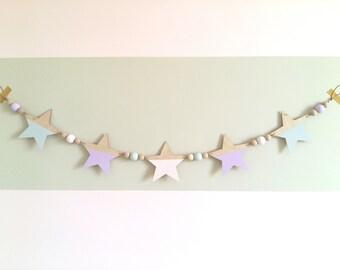 Wooden Star Garland, wooden star bunting, Garland, Nursery Accessory, nursery decoration