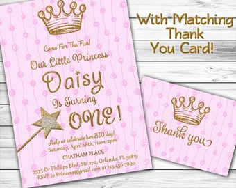 Princess Birthday Invitation, Girl First Birthday Invitation, 1st Birthday, Pink and Gold Birthday Invitation, Free Card, Glitter, Printable