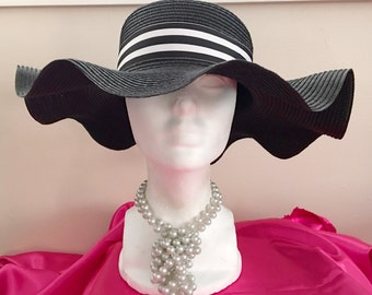 Wavy Brim Black & White Hat -- Kentucky Derby, Church, Wedding, Tea Party, Garden Party, Formal, Dress Up