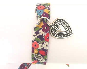 Liberty of London Fabric Wrap Friendship Bracelet with Heart Charm