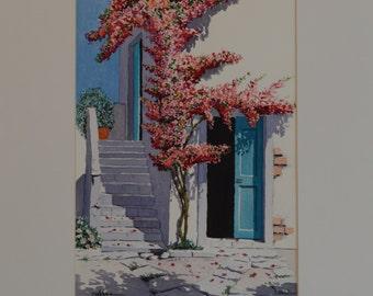 A beautiful original watercolour. A picturesque road of Milos island in Greece.