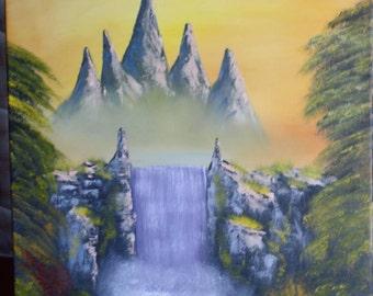 Original Fantasy painting oil landscape - Blazing Mountain