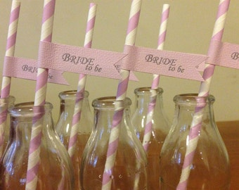 20x 'Bride To Be' Bridal Party Straws Decorations