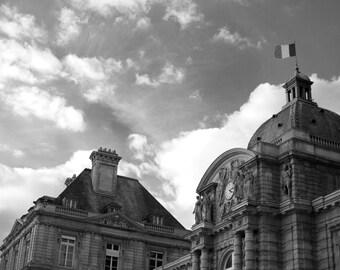 Paris Photography, Jardin du Luxembourg, Palais du Luxembourg, Black and White Art Print, Paris Print, Home Decor, Paris Decor