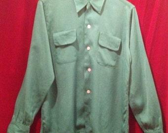 1950's Vintage Rayon, gabardine Shirt / Saddle stitching on Collar and Pockets / make- ROB ROY.
