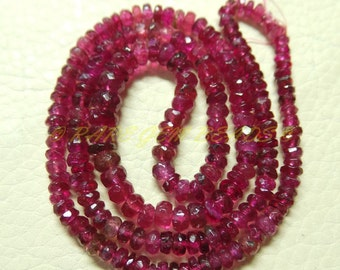 "Natural Rubellite Pink Tourmaline Rondelle, Tourmaline Faceted Rondelle Beads, 3-5 MM Size, 15"" Strand, Loose Gemstone Roundel Beads 405"