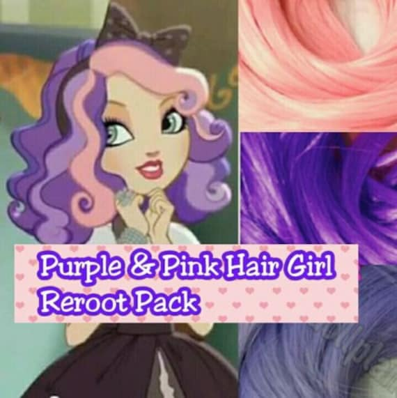 Ever After High Pink & Purple Haired Girl Background Character Doll Re-root Pack Nylon Hair Kit for creating your own OOAK Custom Doll