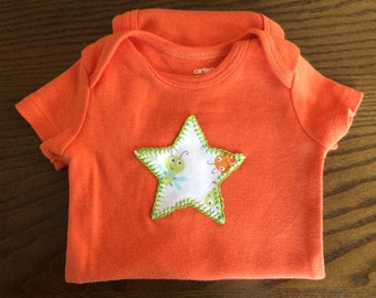 Star Hand Stitched, Bodysuit 3 months -- Upcycled