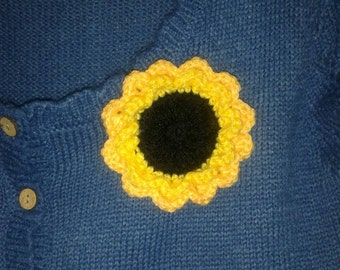 Funky Crochet Flower Brooch - Sunflower