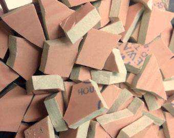 PINK mosaic tile- 100 pcs-ceramic broken plate tile-pique assiette-tessera-id*188