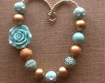 Gold and Mint Bubblegum Necklace