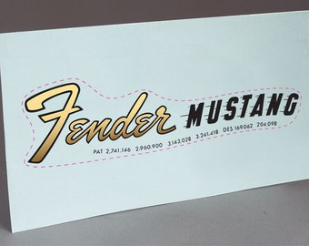 1966 Fender Mustang #2 precut water slide decal headstock for restoration