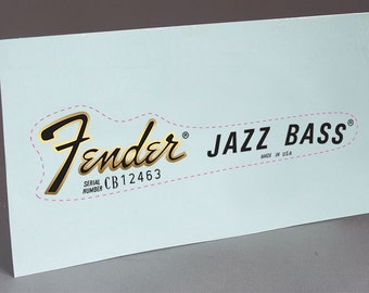 Fender 70'S Jazz Bass precut water slide decal headstock for restoration