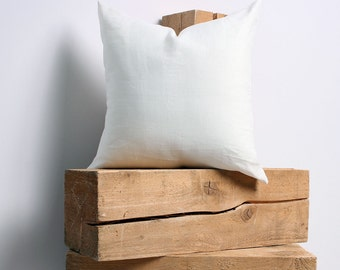 White Linen Pillow Cover, White Pillow Covers 20x20, 18x18, 16x16, 24x24