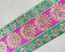 1 YARD-Royal Style Magenta Base Sequined Beaded Green Border Indian Woman Sari Decorative Fabric Trim Crafting Sew Supply Trim BY Yard