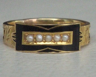 Victorian Gold, Enamel, Pearl and Hair Antique Mourning Ring