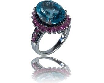 10.4CT Blue Topaz Vintage Ring Pink Blue Sapphire Sterling Silver 18k Black Gold