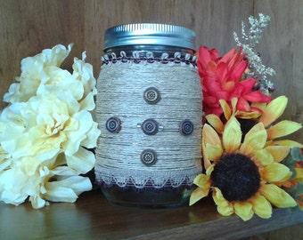 Hemp wrapped mason jar