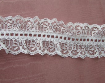 "Double Galloon 2 1/2"" Lace in White By The Yard 003"