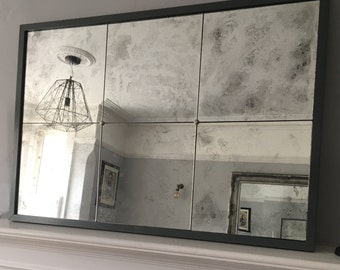 Distressed Glass Panel Mirror in Farrow and Ball Downpipe (options available).