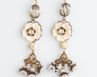 Stunning Chandelier Drop Ivory Coast Earrings handmade from vintage elements | Boho luxe | Artisan Jewellery | Diamante flower