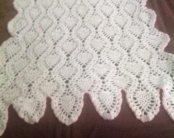 Hand-made crocheted baby afghan/blanket/crib blanket