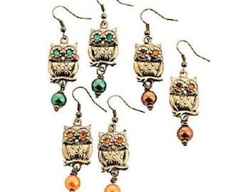 Owl Earrings - Various Colors