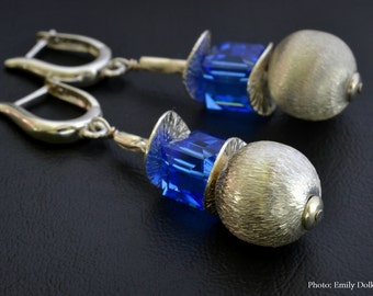 Earrings with silver satin beads and blue Swarovski cubes 925 sterling silver