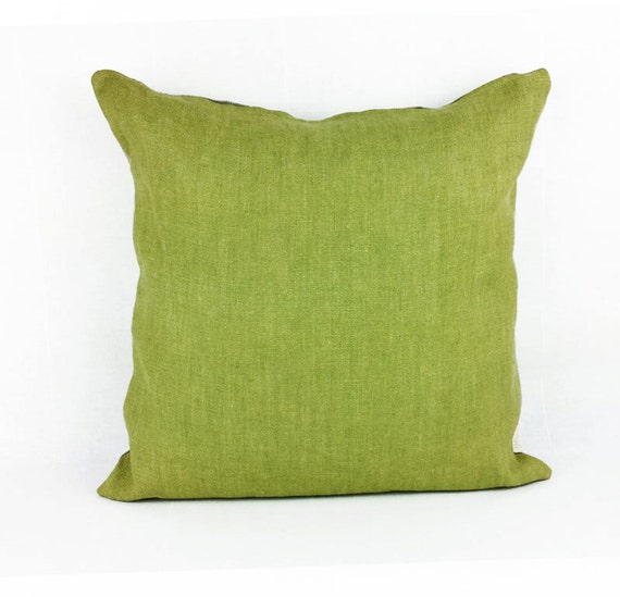 Green solid accent pillow cover Decorative pillow Linen