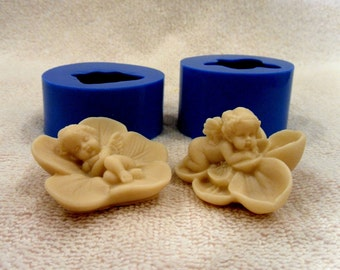 Angels on flowers - 2-molds-lot silicone mold for soap and candles making mould