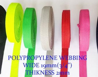 """19mm 3/4"""" color strong  polypropylene webbing strap"""