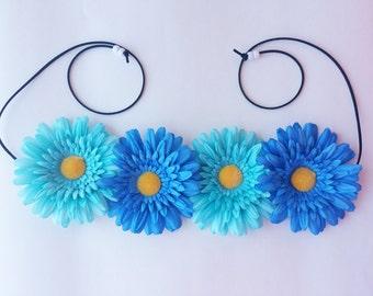 Blue Daisy Flower Headband, Blue EDC Headband, Blue Flower Headband
