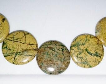 Green line jasper 25mm coin beads 25mm stone beads brown stone beads green stone beads semiprecious stone semiprecious beads jasper beads
