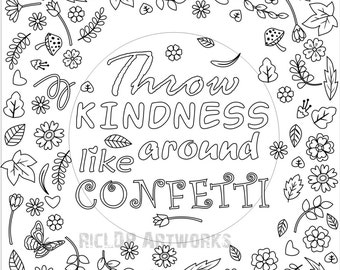 printable throw kindness around like confetti coloring page for grown ups flower - Blank Coloring Pages