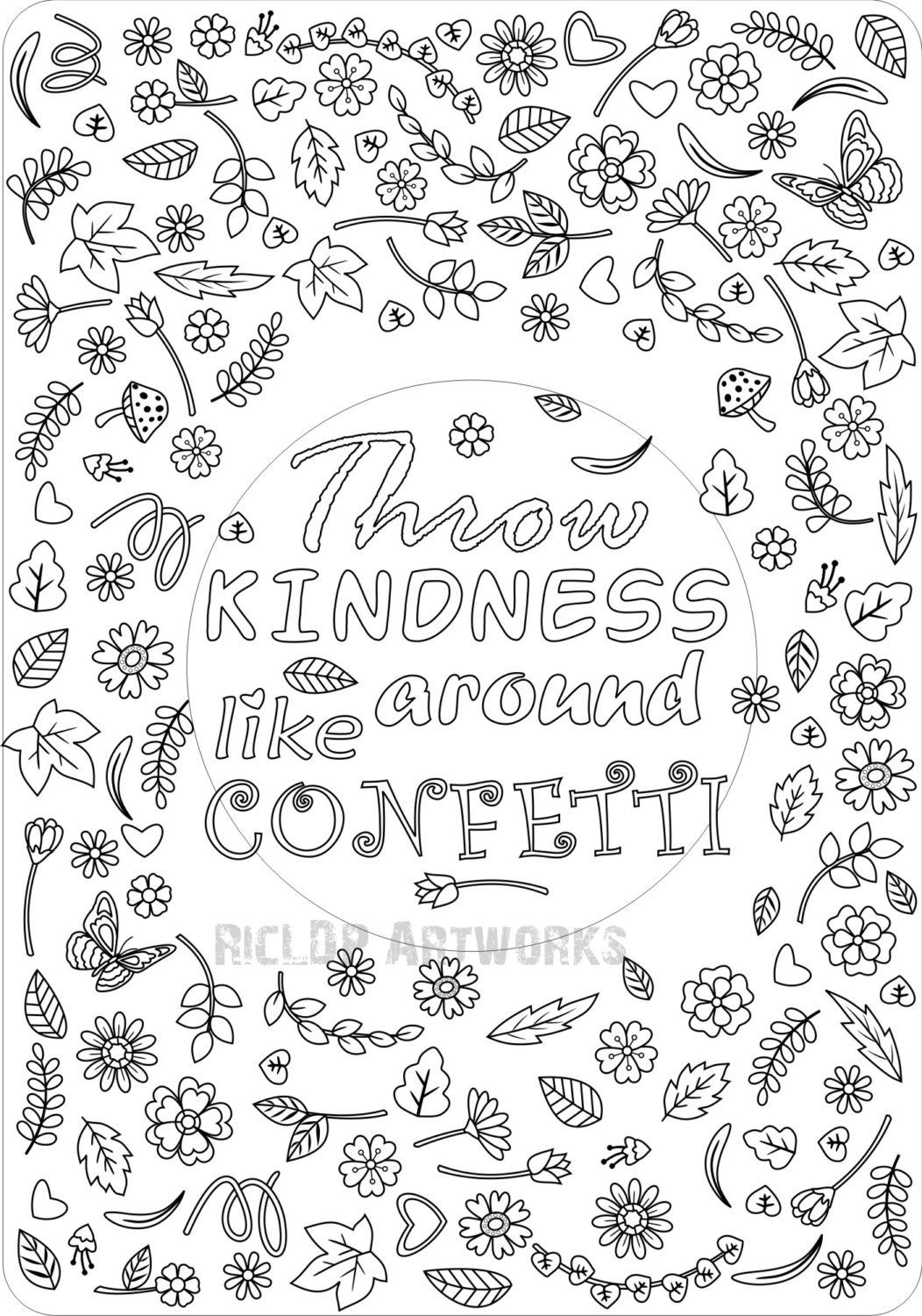 Showing Kindness To Others Coloring