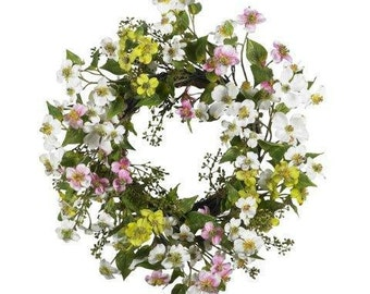 20 Inch Dogwood Wreath, Ready to Ship