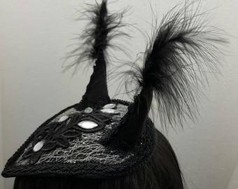 SALE horn crystal gothic fascinator - horns crystal gothic fascinator