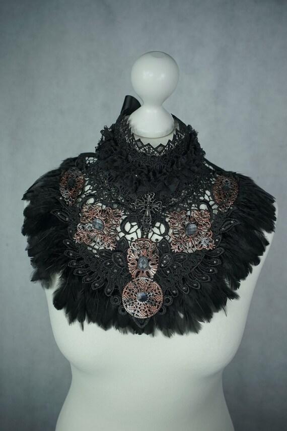SALE steampunk chocker collar, collar with copper Silver Ornament