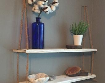 Distressed Wood - Suspended/Hanging Shelf