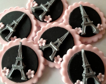 6 Edible Cake Toppers cup cake decorations eiffel tower paris flower discs