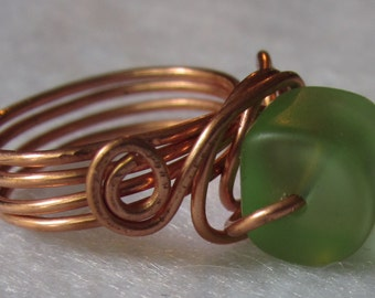 Green Glass Cylindrical Copper Ring size 7.5