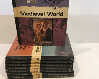 Young People's Story of Our Heritage 1966 , 8 Volumes Young People Story , The Americas , Medieval World , Ancient World , Fine Art , Orient