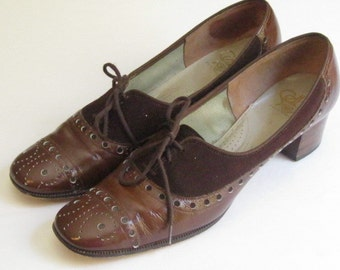 Vintage Selby 5th Avenue Patent Leather and Brown Suede Shoes Sz 9