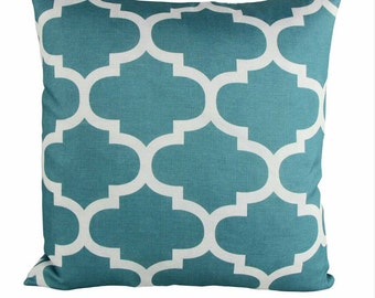 Moroccan Pattern Turquoise and White Linen Decorative Throw Pillow