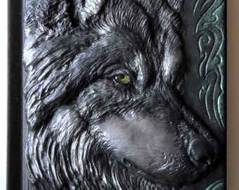 Wolf journal, polymer clay journal, fantasy, 98 blank sheets